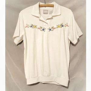 Vintage Blair flower embroidered polo shirt